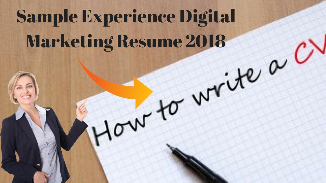 Sample Experience Digital Marketing Resume 2018
